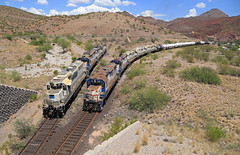 Train 1, Train 2 (GLC 392) Tags: fmi freeport mcmoran copper gold mine fmix morenci az ariozona 57 58 51 emd gp383 gp38ac3 gp382 acid tank railroad railway mountain mountains phelps dodge corporation mining plant corp 59 front shovel loader hill road long ways 50 52 53 55 56 fighting world down grade percent house houses side clifton gravity meet meeting
