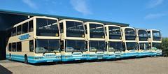 T278 BPR, T273 BPR, V428 DRA, V435 DRA, E15 BTS, E14 BTS & YAZ 8827, all East Lancs bodied Tridents at Lodge's Depot, High Easter, 8th. September 2019. (Crewcastrian) Tags: higheaster buses transport lodges dennis trident eastlancs lolyne t278bpr t273bpr v428dra v435dra e15bts emn49y e14bts emn52y yaz8827 t405bnn