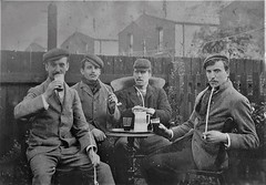 Clay Pipe Smokers. (ManOfYorkshire) Tags: chaps fellas workers industrial revolution 1700s 1800s 1900s posed clay pipe pipes smoking long novelty drink jar ale table sociable claypipesmokers aldermen straws garden moustache caps