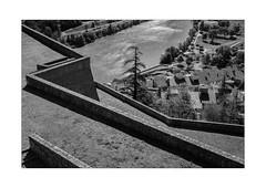looking down on No-Man's-Land (Armin Fuchs) Tags: arminfuchs nomansland citadelle sisteron diagonal light shadow tree river anonymousvisitor thomaslistl wolfiwolf jazzinbaggies niftyfifty
