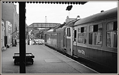 End of the line (david.hayes77) Tags: westofengland westcountry englishelectric class50 50018 paignton devon 1976 ilfordfp4 acutol blackandwhite bw monochrome semaphores railwayana paigntonstation mark2carriage oillamp summer intercity torbayroad