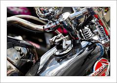 Harley tank ornament (G. Postlethwaite esq.) Tags: dof derbyshire harleydavidson heagewindmill macro unlimitedphotos bokeh classicbikes closeup depth depthoffield motorbike motorcycle petrolcap photoborder selectivefocus