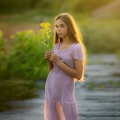 Alina. (matveev.photo) Tags: girl light squareformat sunlight summer square sunset sun flower face young yello eyes portrait people photography teenage teen matveev art