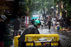 Delivery on rain (Karthikeyan.Chinnathamby) Tags: karthikeyan chinnathamby chinna canon canon5d canon5dmarkiii candid street streetlife streetphotography streets india kolkata westbengal people colors color colour rain monsoon streetscene travel cwc cwc742 chennaiweekendclickers tricycle vendor delivery contrast