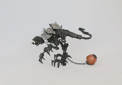 Rappi (Ron Folkers) Tags: lego bionicle technic black chain ball brown silver moc raptor dino armor