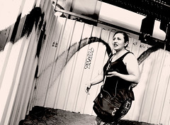 Urban Wings (kirstiecat) Tags: madrid spain espana woman female graffiti blackandwhite noiretblanc monochromemonday street canon blancoynegro europe