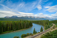 Glorious Landscape (Bob C Images) Tags: canadian rockies alberta mountain river sky clouds railroad forest trees