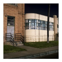 Night Deco curve (ADMurr) Tags: la eastside industrial curve deco grid brick stucco hasselblad 500cm 50mm distagon zeiss film mf square fuji 400 pro long exposure night dba793
