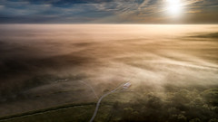 Good Morning Beautiful (somewheredowntheroadphoto) Tags: kentucky unitedstatesofamerica columbia road morning light shadow cloud sun mist field fog clouds barn sunrise landscape early fly flying glare shadows shine cloudy farm flight foggy fields roads shining beams beaming drone