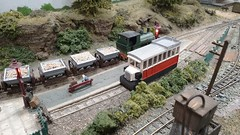 Busy Platform at Sowters Lane Station. (ManOfYorkshire) Tags: sowters lane junction model railway train layout 009 oo9 gauge steam railcar platform wagons bayplatform scale loughborough exhibition 2019 soarvalley