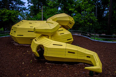 play inside the yellow snake (Pejasar) Tags: snake yellow wooden playground thegatheringplace tulsa oklahoma