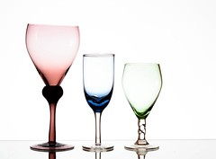 Three (Karen_Chappell) Tags: three 3 glass white pink blue green glasses product stilllife trio shapes curves stemware glassware wineglass goblets goblet color colour colors colours multicoloured colourful