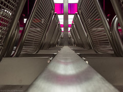 Bench (katrin glaesmann) Tags: hamburg germany tube metro ubahn station ubahnhof hvv u4 hafencityuniversität colour bench symmetry pink