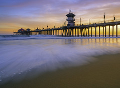Huntington Beach Pier Sunset (meeyak) Tags: hb hbpier huntingtonbeach beach ocean pier surfcity longexposure sunset waves art architecture clouds sky warm summer mikemarshall sony a7r2 zeiss batis 25mm landscape seascape reallyrightstuff travel vacation adventure relaxing