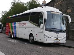 Weardale Coaches of Stanhope Irizar i6 Integral YT19KUY, with Trafalgar Tours vinyls, at Johnston Terrace, Edinburgh, on 3 September 2019. (Robin Dickson 1) Tags: busesedinburgh trafalgartours irizari6integral weardaleofstanhope yt19kuy