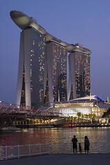 Night stroll in Singapore (Nobusuma) Tags: nikon nikond610 digital nikkor50mmf18g 50mm f18 singapore marinabaysands bay silhouette earlyevening dusk family lights