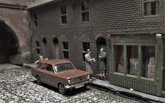Collecting The Rent. (ManOfYorkshire) Tags: corgi diecast car cobblestreets diorama 176 scale oogauge vauxhall viva collecting rent man rentman trackside