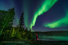 Shooting the Aurora at Cameron River (Amazing Sky Photography) Tags: photographer observer cameronriver yellowknife nwt northwestterritories northernlights nightscape autumn colours water mist ramparts bigdipper