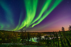 Aurora over Cameron River in Moonlight (Amazing Sky Photography) Tags: autumn trees river stars colours nightscape ramparts northwestterritories northernlights auroraborealis ingrahamtrail cameronriver yellowknifenwt