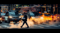 8th Avenue, Manhattan, NYC (emrecift) Tags: candid street photography cityscape traffic lights colorful steam new york nyc cinematic lightroom presets 2391 anamorphic fuji xt1 90mm f2 emrecift