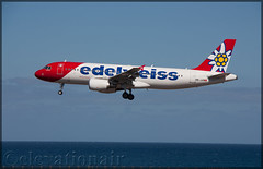 HB-JJN Airbus A320-214 Edelweiss Air (elevationair ✈) Tags: ace gcrr arrecife lanzarote lanzaroteairport arrecifeairport canaries canaryislands spain europe sun sunny sunshine summer avgeek aviation airplane plane aircraft arrival landing airbus a320 edelweiss edelweissair airbusa320214 hbjjn