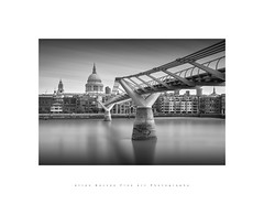 St Paul's..Millenium Bridge (LoneWolfA7rii) Tags: city uk longexposure bridge blackandwhite bw white black london art water monochrome thames architecture river outdoors mono sony stpaulscathedral