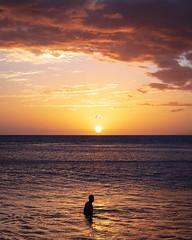 Day's End, Maui (Brady Baker) Tags: sunset sky water sea horizon orange color nature beauty silhouette cloud person waterfront leisure tranquility man ocean hawaii maui lahaina dusk solitude usa travel recreation swim beach pacific island life simple