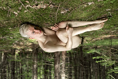 The boy with the doe eyes (Karsten Fatur) Tags: portrait model malemodel naked nude nudemodel forest moss gay lgbt lgbtq queer queerart nature canada woods trees blonde twink photoshop edit portraitphotography portraiture colour green