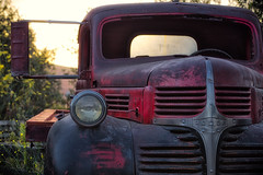 A hard days work (SSelJEFE) Tags: dodge flatbed truck old vintage rust wood metal sunset grill red antique canon 6d 70200mm photography harmony california