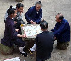 Taoist Masters Playing Xiangqi (Wolfgang Bazer) Tags: taoist masters priests monks 道士 daoistische meister priester dragon fountain temple black pool park heilongtan 黑龙潭 xiangqi 象棋 chinese chess chinesisches schach kunming yunnan china 昆明 云南 黑龙潭公园