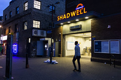 Shadwell Station (London Less Travelled) Tags: uk unitedkingdom britain england london eastlondon eastend towerhamlets street urban city suburb suburbs suburban suburbia night dark light shadwell station rail railway overground dlr transport