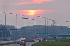 Sunset over the road (mmichalec) Tags: sunset city gdańsk tricity trójmiasto poland polska pomerania pomorze droga road zachód evening wieczór fujifilm traffic cars samochody ulica