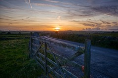 R0105496- on1  copy (Douglas Jarvis) Tags: ricoh grii foolow derbyshire sunset road field gate farm