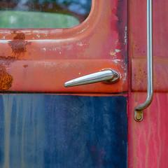 the miles I've seen (jtr27) Tags: dscf7118xl4 jtr27 vivitar komine 55mm f28 macro manualfocus old antique junk truck patina chrome door maine