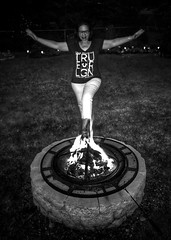 """Fire pit fun (awevans4) Tags: night indonesian fire """"firepit"""" nh newengland blackandwhite somersworth somersworthnh girl burn firepit arms newhampshire iphone"""