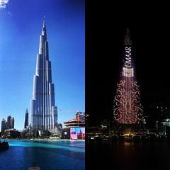 Day and Night: Burj Khalifa, Dubai (gabmad92) Tags: architecture dubai uae burjkhalifa skyline night skyscraper day