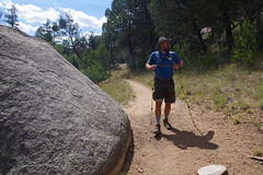 Chad and big boulder, Along Mint Wash, Granite Mountain Recreation Area (EllenJo) Tags: prescott prescottarizona yavapaicounty arizona september9 2019 prescottaz az