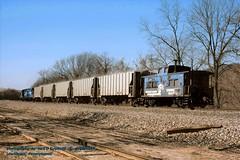 CR 18619 caboose, Lewistown, PA. 4-10-1987 (jackdk) Tags: train railroad railway caboose n5c cr conrail lv lehighvalley waycar cab hack middledivision prr pennsy conrail18619 18619 freighttrain freight fallenflag