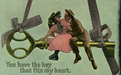 You Have the Key That Fits My Heart (Alan Mays) Tags: ephemera postcards talltalepostcards paper printed talltales exaggerations oversized giant fantasy mammoth huge men women clothes clothing suits dresses hats fans fanning keys ribbons hanging hearts sitting romance romantic coy sayings expressions keytomyheart keytoyourheart humor humorous funny comic amusing strange unusual illustrations green yellow pink antique old vintage typefaces type typography fonts
