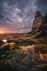 No Land (Manuel.Martin_72) Tags: asturien spain drama enchanting lightdrama magic majestic coast rocks sand stones ocean reflections sea water waterreflections waves glow overcast skyburning sunset wbpa vertical darkness asturias