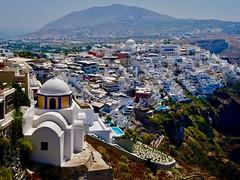Thira (lesleydugmore) Tags: thira santorini europe greekisland architecture buildings mountain scenery church cyclandsislands pools island greece explored110919 explore fabuleuse