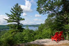 Red Cairs In Nature (Dallas K. Sanders) Tags: natural adobelightroom july19 lake algonquinchairs redchairs trees ontario dorest sonyrx100v forest scenic nature sky travelswithmom canada 2019 lightroom july dwight