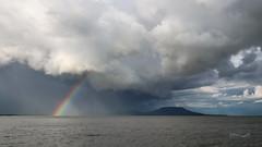 (zedspics) Tags: balaton balatongyörök magyarország hungary hongarije ungarn plattensee storm clouds weather rainbow badacsony zedspics 1909 rain landscape lakescape