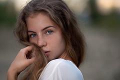 Angelina (tromanph) Tags: beautifulgirl girl portrait headshot bokeh sunset pretty freckles sunspots longhair nymphette