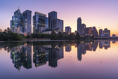 Austin (Amar Raavi) Tags: austin skyline coloradoriver skyscraper cityscape architecture sky city urban buildings dawn sunrise longexposure river water outdoors travel nopeople thelonestarstate atx texas usa