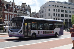 FWE 47457 @ The Centre, Bristol (ianjpoole) Tags: first west england wright streetlite max sk63kku 47457 working route 24 langley crecent ashton val broadmead hospital
