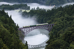Train on the foggy river (Tom Hanawa) Tags: