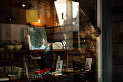 Warm window reflects (jayneboo) Tags: 50collapsiblesummicron shrewsbury leica artcadia letterpress art shop printing printers stationery