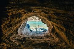 Inside the cave (Nicola Pezzoli) Tags: formentera isola island spain sea mediterraneo mare holiday vacanze baleari baleares nature natura cave baster cala beach bay grotta blue girl