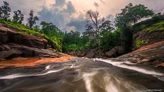 Staring Down The Barrel (Neha & Chittaranjan Desai) Tags: waterfall river stream forest landscape sunset travel nature water india gujarat dang slow shutter